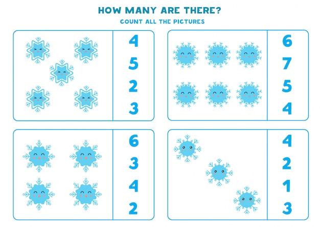 Tel het aantal schattige sneeuwvlokken.