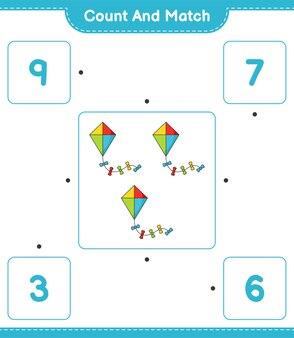 Tel het aantal vliegers en match met de juiste nummers