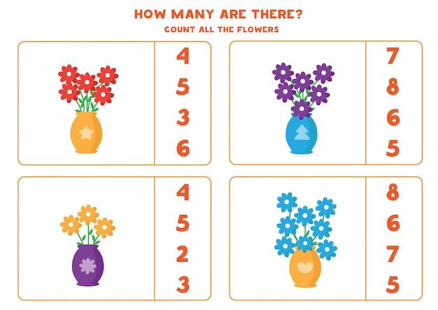 Tel hoeveel bloemen er in de vaas zijn.