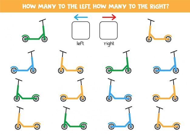 Tel hoeveel scooters naar links en rechts gaan.