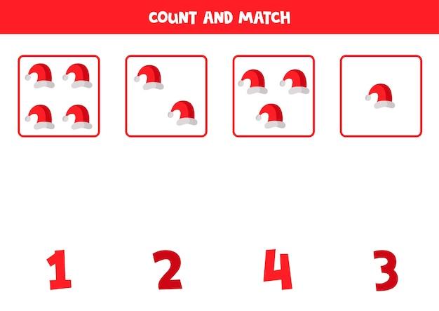 Tel kerstman caps en match met getallen educatief wiskundespel voor kinderen