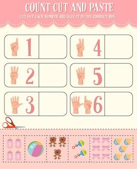 Tel, knip en plak wiskunde-werkblad voor kinderen