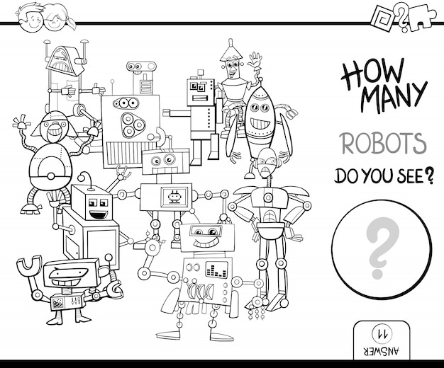 Tel robots kleur pagina activiteit