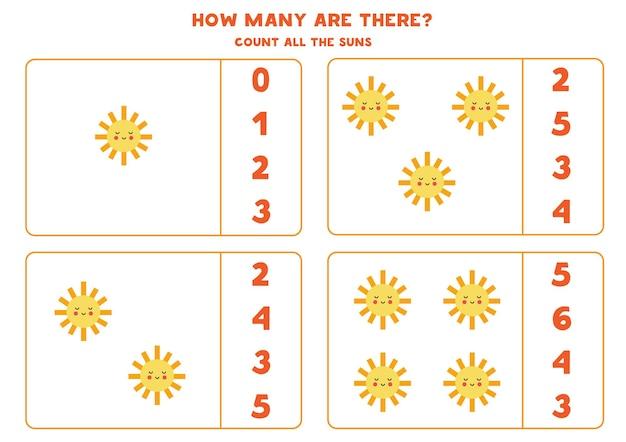 Tel schattige kawaii-zonnen en omcirkel de juiste antwoorden. rekenspel voor kinderen.
