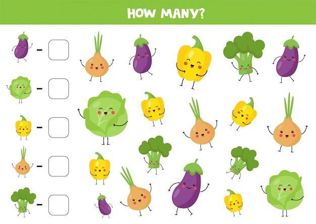 Tel schattige kawaiigroenten en schrijf het antwoord op.