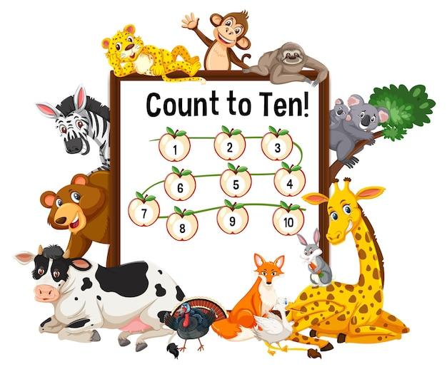 Tel tot tien bord met wilde dieren