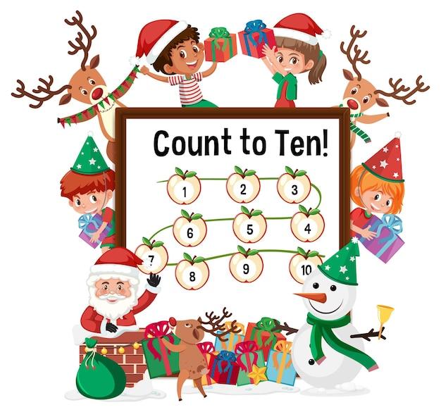 Tel tot tien cijferbord met veel kinderen in kerstthema