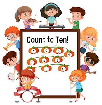 Tel tot tien nummerbord met veel stripfiguren voor kinderen