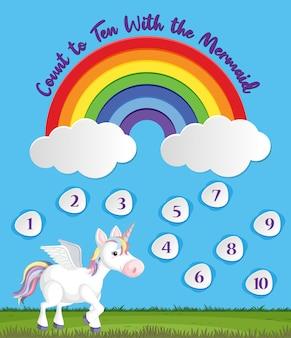 Tel tot tien voor voorschoolse in regenboog- en eenhoornthema-achtergrond