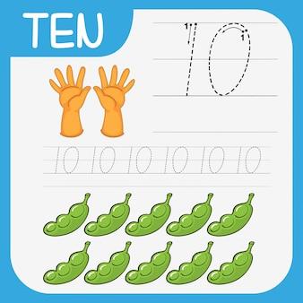Tel wiskunde nummer tien werkblad