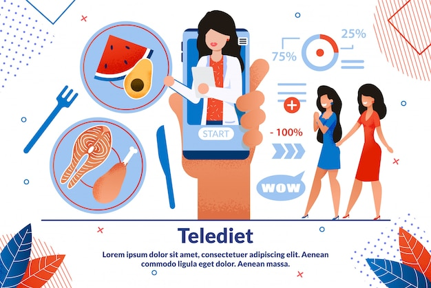 Telediet applicatie platte sjabloon voor spandoek