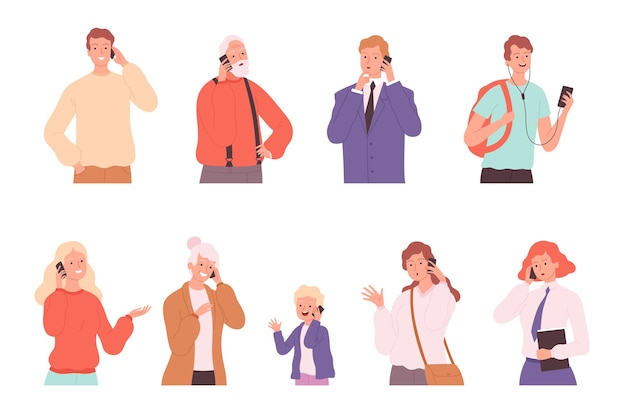 Telefonische dialoog. pratende mensen mannelijke en vrouwelijke gesprekken die karakters spreken die personen spreken
