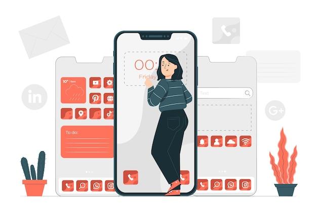Telefoon aanpassing concept illustratie