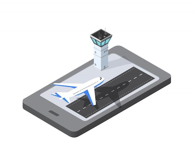 Telefoon concept luchthaven start-en landingsbaan vliegtuig