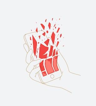 Telefoon in de hand die gegevens verwijdert