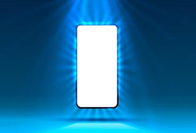 Telefoon in felblauwe kleur, lichtstralen op de achtergrond.