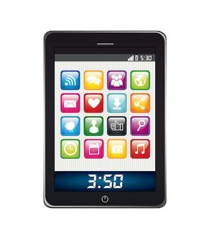 Telefoon met apps geïsoleerde app store vector illustratie