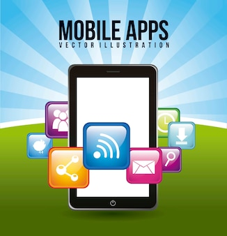 Telefoon met apps mobiel kopen vectorillustratie