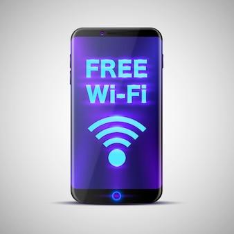 Telefoon met een inscriptie op het scherm gratis wi-fi. vector illustratie