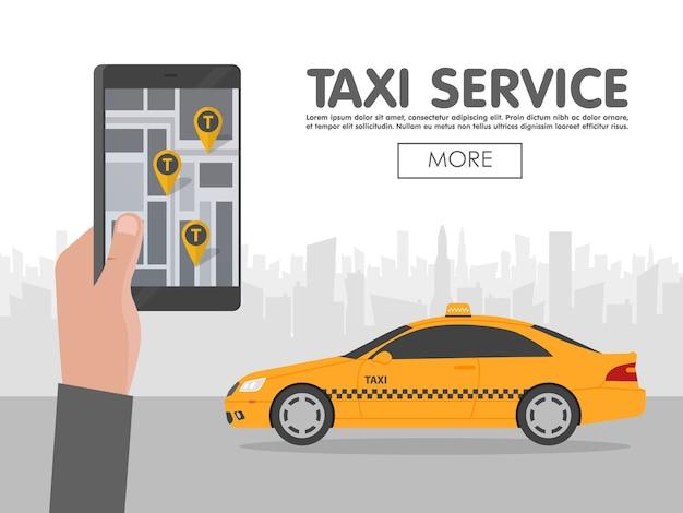 Telefoon met interfacetaxi op het scherm op achtergrond de stad. mobiele app voor boekingsservice. platte vectorillustratie voor het bedrijfsleven, grafische informatie, banner, presentaties