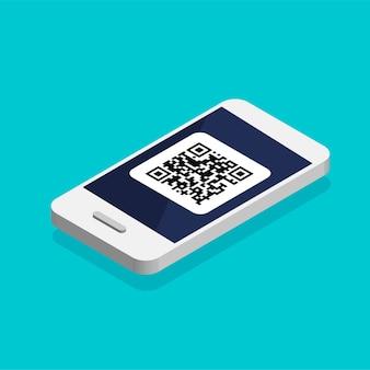 Telefoon met qr-code op het scherm. isometrische scancode per telefoon. qr label sticker geïsoleerd op blauwe achtergrond.