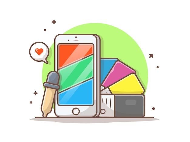 Telefoon met rgb-kleuren en cmyk-kleurenpalet