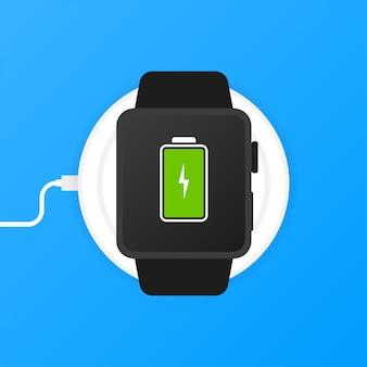 Telefoon opladen, platte pictogram geïsoleerd op blauw
