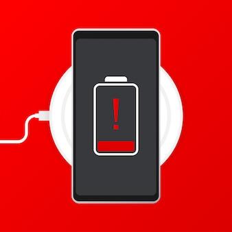 Telefoon opladen, platte pictogram geïsoleerd op rood