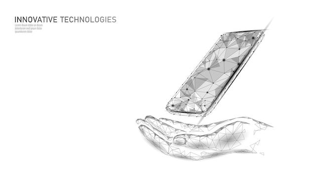 Telefoon reparatie help bedrijfsconcept. handverzorging mobiele smartphone gebroken scherm. foutgegevens van softwarefout verloren. virusaanval informatiebeveiligingswaarschuwing