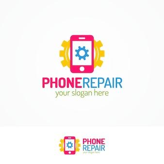 Telefoon reparatie logo set met silhouet telefoon en versnelling egale kleurstijl kan