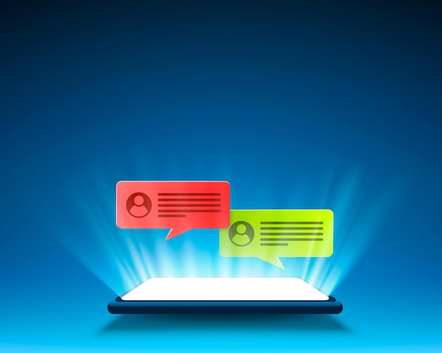 Telefoon sms-chatframe, scherm mobiel sociaal.
