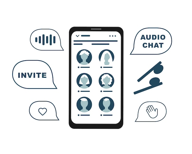Telefoon sociaal netwerk chatten met vrienden. clubhuis audiochat.