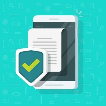 Telefoon veilig document bestandsbescherming concept of mobiele vertrouwelijke informatie en privacygegevens op mobiel vlak beeldverhaal