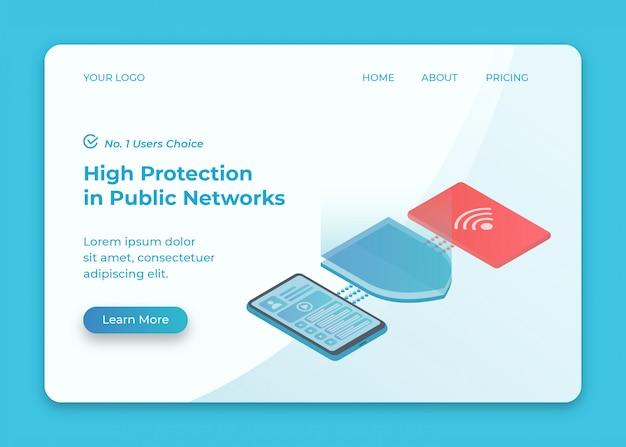 Telefoon verbonden met gevaarlijk openbaar netwerk en isometrische illustratie van beveiligingsoplossing