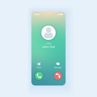 Telefoongesprek ontvangen smartphone-interfacesjabloon
