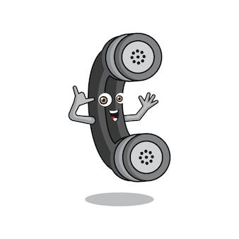Telefoonhoorn cartoon karakter