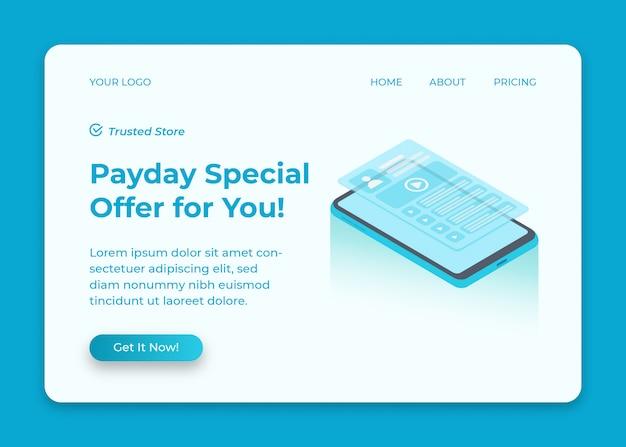 Telefoonkorting en verkoop voor betaaldagpromotie isometrische illustratie