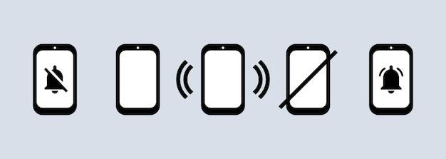 Telefoonpictogram ingesteld in zwarte en stille modus of telefoonteken. vector