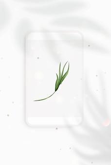 Telefoonpictogram sjabloon van smartphone met tropische palmbladeren overlay schaduwen