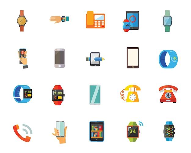 Telefoons en horloges pictogramserie