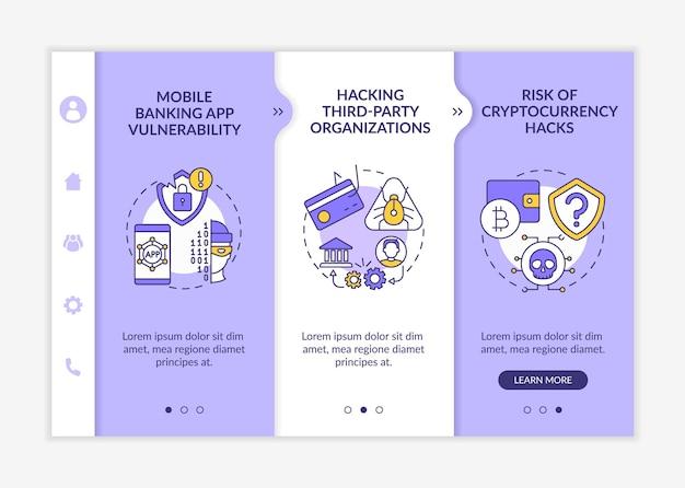 Telefoonwachtwoord hacking bedreiging mobiele sjabloon voor onboarding-app