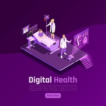 Telegeneeskunde digitale gezondheidsgloed isometrische bannersamenstelling met futuristische afbeeldingen van ziekenhuisafdeling en holografische schermenillustratie,
