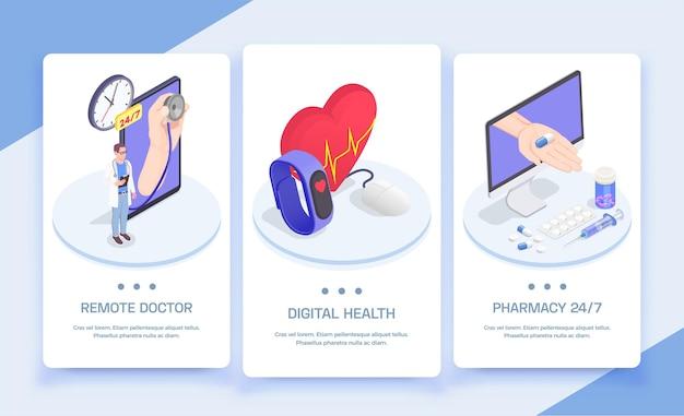 Telegeneeskunde en digitale gezondheid isometrische verticale banners instellen