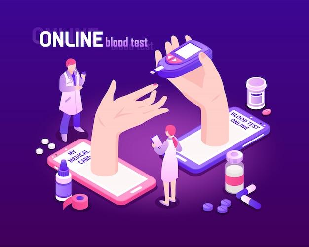 Telegeneeskunde isometrische achtergrond met online 3d bloedonderzoekproces