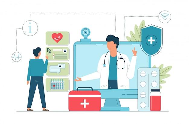 Telegeneeskunde, online arts, medische dienst online voor patiënten.