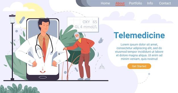 Telegeneeskunde voor ouderen. online gezondheidszorg voor oude patiënten. medische bestemmingspagina. senior man vroeg dokter om hulp, luisterend naar testresultaat van therapeut op mobiel scherm