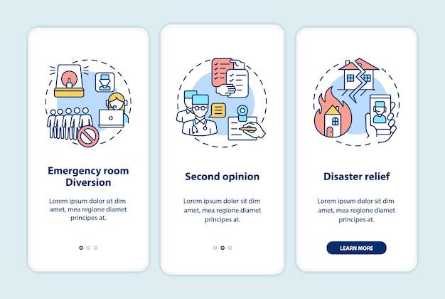 Telegeneeskundigen maken het scherm van de mobiele app met concepten onboard