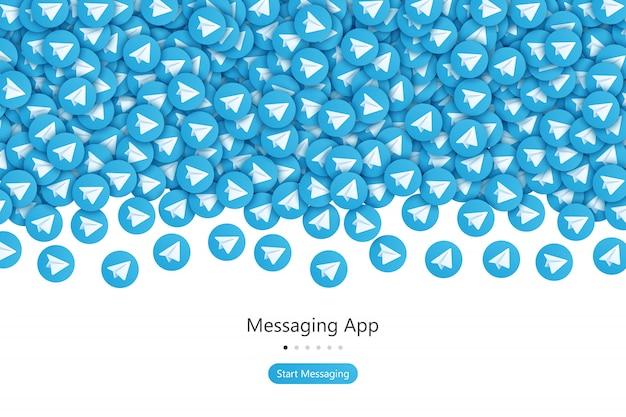 Telegram startscherm ui ontwerpconcept vector abstracte achtergrond