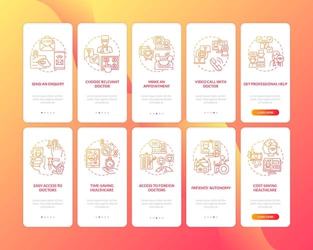 Telemedicine onboarding mobiele app-pagina