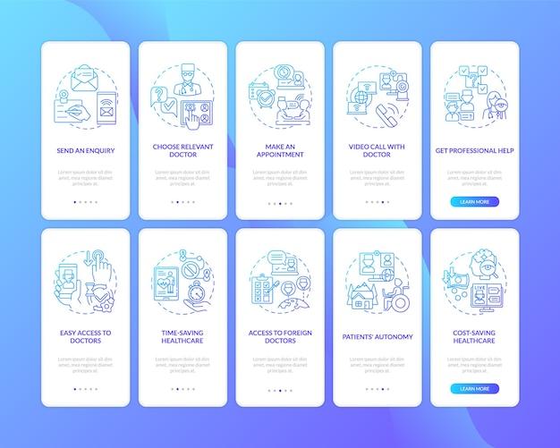 Telemedicine onboarding mobiele app-paginascherm met ingestelde concepten
